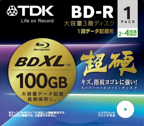 TDK Blu-ray BD-R Disk for PC Data | Super Hard Coating Surface | 100GB (XL) 2-4x Speed 1 Pack (Japanese Import) by TDK Media