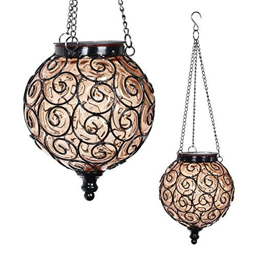 Exhart Solar Hanging Lantern, Handblown Amber Glass – Round Hanging Lantern Light w/ 12 LED Firefly String Lights, Metal & Glass Lantern Decorative Orb for Outdoor Décor (7in l x 7in w x 20in h)