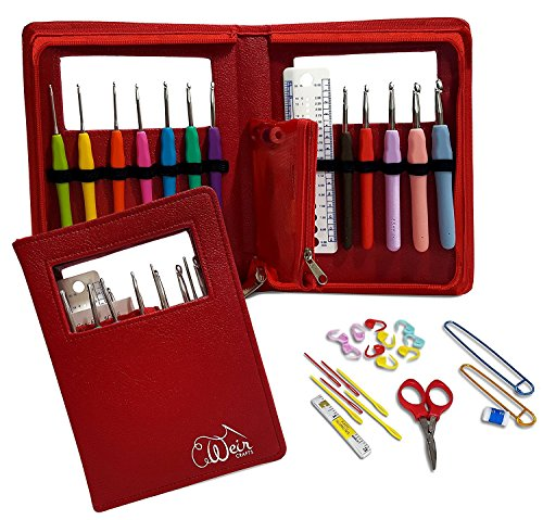 Crochet Hook Kit with 12 Ergonomic Hooks and Case | Crocheting Needles Set with Gentle Handles for Arthritis and Carpal Tunnel to Reduce Pain - by Weir Crafts