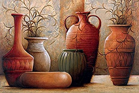 Amazon.com: Spicy Pots Red Vases Dee Museum Wrapped Canvas Art 28x42 ...