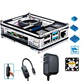 Miuzei Raspberry Pi 4 Case with Fan, 3× Heat-Sinks, 5V 3A USB-C Power Supply for Raspberry Pi 4 Model B (Pi 4 Board Not Included)