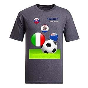 Custom Mens Cotton Short Sleeve Round Neck T-shirt,2014 Brazil FIFA World Cup teams_F gray