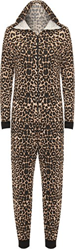 WearAll Women's Print Onesie LAdies Playsuit Long Hooded Jumpsuit