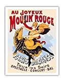 Au Joyeux Moulin Rouge (Happy at the Moulin Rouge) - Moulin Rouge Cabaret - Paris, France - Dance - Concert - Ball - Vintage Theater Poster c.1890s - Fine Art Print - 11in x 14in