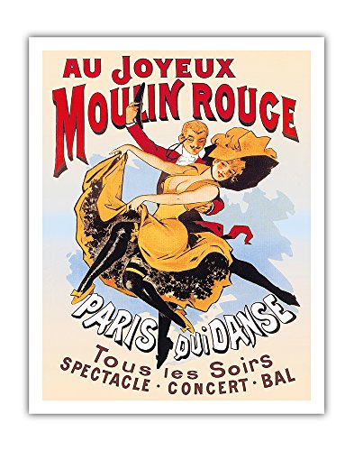 Au Joyeux Moulin Rouge (Happy at the Moulin Rouge) - Moulin Rouge Cabaret - Paris, France - Dance - Concert - Ball - Vintage Theater Poster c.1890s - Fine Art Print - 11in x 14in (Globe Theater Poster)