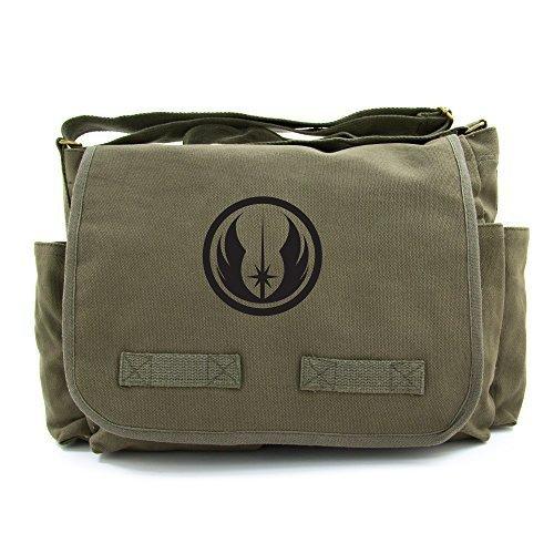 Jedi Order Logo Army Heavyweight Canvas Messenger Shoulder Bag in Olive & Black