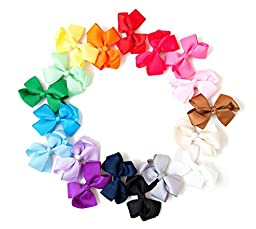 Ema Jane - Grosgrain Baby Hair Bow Clips (Headbands Not Included) (16 Pack)
