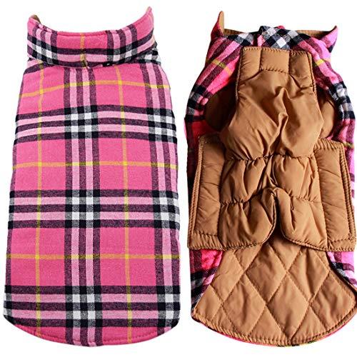 JoyDaog Reversible Plaid Dog Coat(7 Sizes) Waterproof Windproof Warm for Cold Winter Weather Dog Jacket Pink XXL
