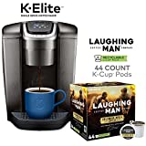 Keurig K-Elite, Brushed Slate Single Serve Coffee Maker and Laughing Man Colombia Huila K-Cup Pods, 44 ct