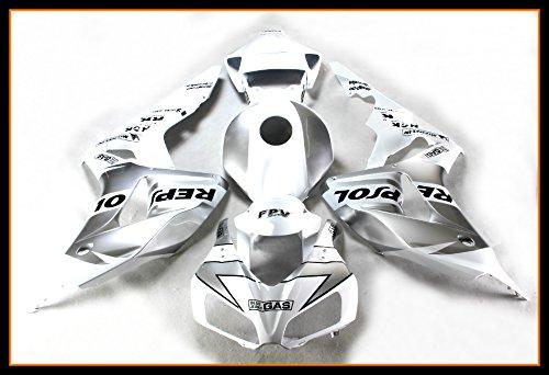 Protek ABS Plastic Injection Mold Full Fairings Set Bodywork With Heat Shield Windscreen for 2006 2007 Honda CBR1000RR Repsol White Edition ()