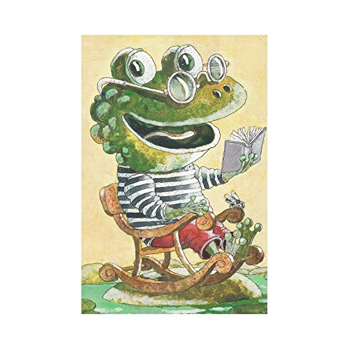 InterestPrint Frog Reading a Book Polyester Garden Flag Hous