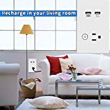 Outlet with 1 Socket and 2 USB Ports, in-Wall, High Speed USB Wall Charger, Wireless Remote Control Electrical Outlet, White Tempered Glass Panel