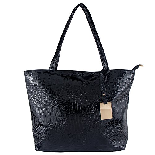 Bagood Womens Crocodile Pattern PU Leather Casual Shopping Handbags High Capacity Shoulder Ladies Soft Bag for Wedding Bridal Prom Party Black by Bagood