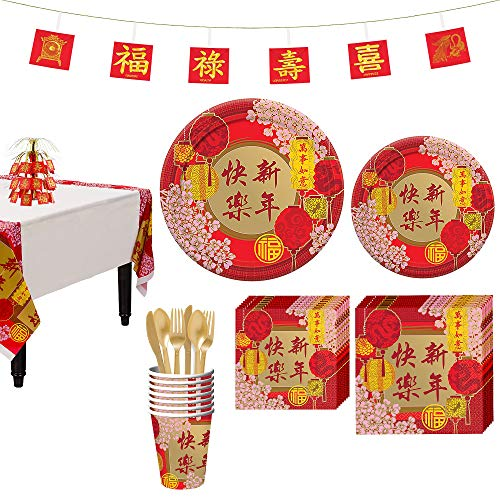 Chinese Paper Plates (Party City Chinese New Year Party Kit for 8)