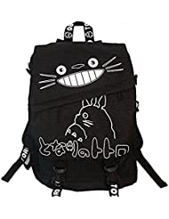 Totoro Smiling Black Backpack with White Lettering 16 School Backpack