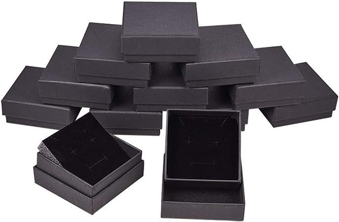 BENECREAT 12 Pack Negra Caja de Joya Caja de Cartón Craft con ...