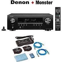 Denon AV Receiver Audio & Video Component Receiver BLACK (AVRS540BT) + Monster Home Theater Accessory Bundle