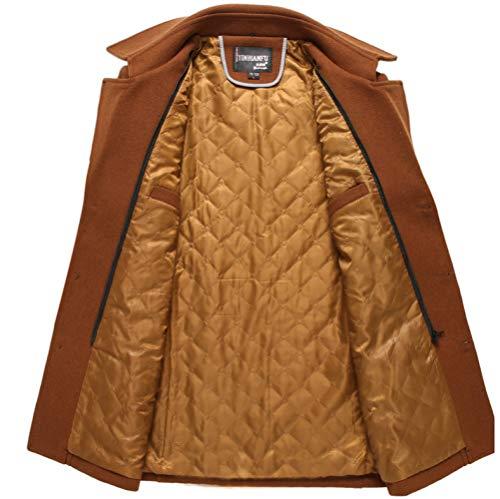 Business Slim Tops Fleece Yra Mens For With Jacket Fit Red Male Windbreaker Lapel Woolen Medium Scarf Long Coat Outerwear Gentleman vxtCxa