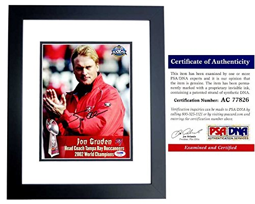 (Jon Gruden Signed - Autographed Tampa Bay Buccaneers 8x10 inch Photo with PSA/DNA Certificate of Authenticity (COA) - BLACK CUSTOM FRAME - Super Bowl XXXVII Champion - Tampa Bay Bucs)
