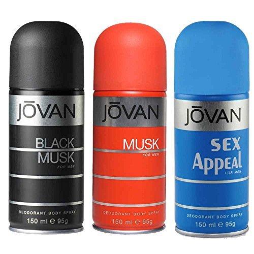 Jovan Set of 3 Deodorants Black musk Jovan musk Sex appeal For Men by JOVAN