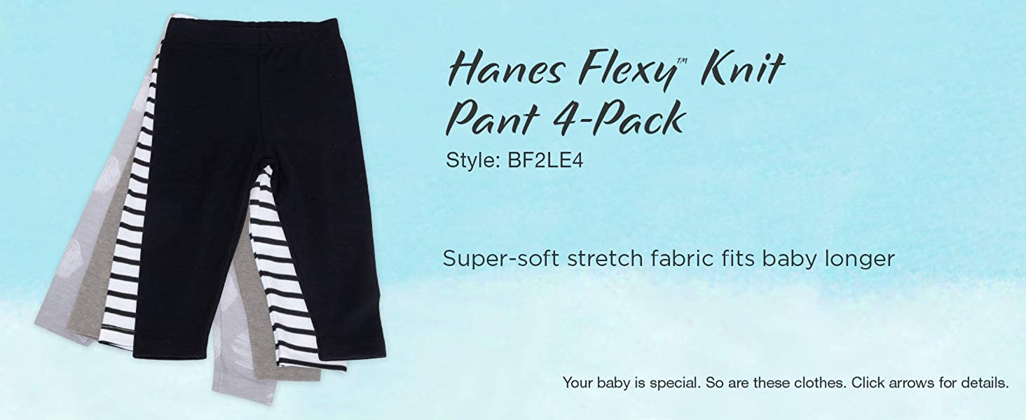Hanes Ultimate Baby Flexy 4 Pack Knit Pants: Clothing