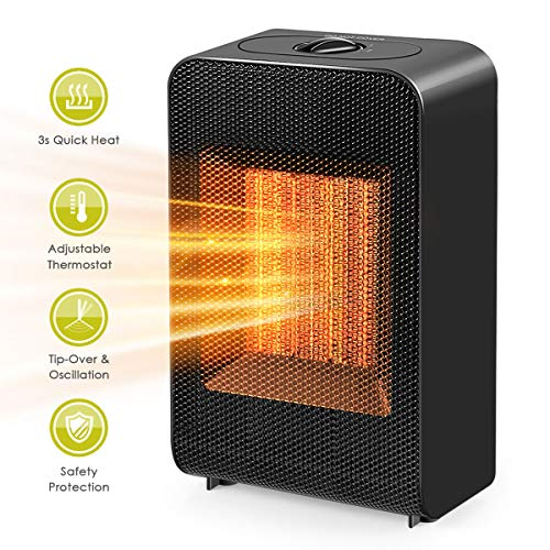 Space Heater, Portable Electric Ceramic Space Heater Fan with Overheat Protection & Tip-Over...