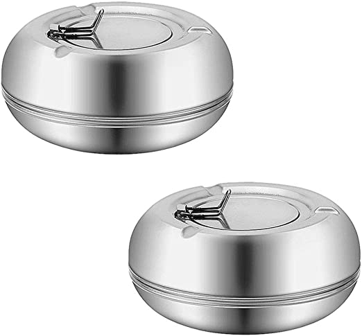 Newness Stainless Steel Modern Tabletop Ashtray for Outdoor or Indoor Use 2 PCS Windproof Ashtray with Lid Desktop Smoking Ash Tray for Home Office Decoration