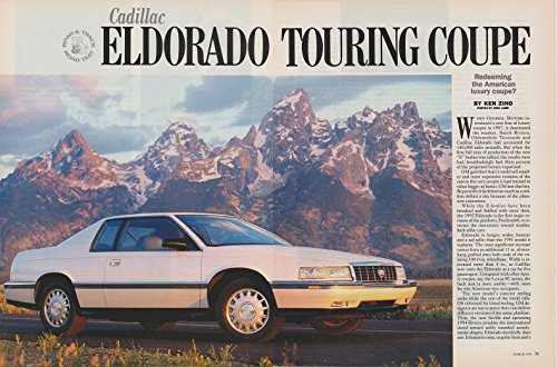 1992 CADILLAC ELDORADO TOURING COUPE Road & Track ORIGINAL COLOR ROAD TEST - USA - EXCELLENT ORIGINAL !!