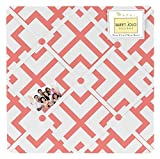 Sweet Jojo Designs Coral Mod Diamond Geometric Print Fabric Memory/Memo Photo Bulletin Board