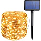 AMIR Solar Powered String Lights, 33ft Copper Wire Lights,100 LED Starry Lights, Indoor/Outdoor Waterproof Solar Decoration Lights for Gardens, Home, Dancing, Party (Warm White)