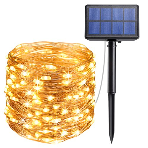 AMIR Solar Powered String Lights, 33ft Copper Wire Lights,100 LED Starry Lights, Indoor Outdoor Waterproof Solar Decoration Lights for Gardens, Home, Dancing, Party (Warm White)