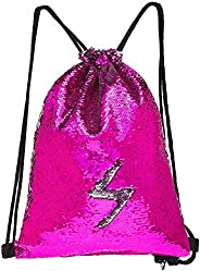 MHJY Unicorn Bag Reversible Sequin Drawstring Bag Sparkly Dance Bag Gym Backpack