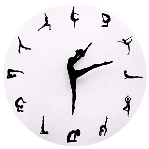 Luzhenyi Yoga Postures Wall Clock Gym Fitness Flexible Girl ...