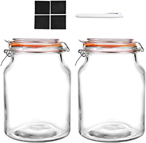 [NEW UPGRADE] Qianfenie Hight Quality Glass Jars with Airtight Lids - Heavy Duty 2 Pcs 0.8 Gallon Wide Mouth Mason Jars with Clip Top Lids for Fermenting, Canning and Preserving