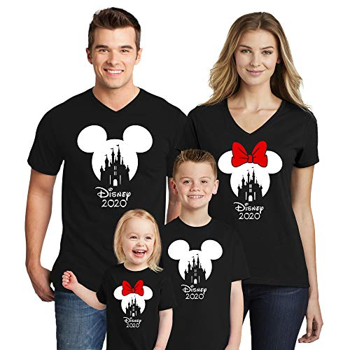 Natural Underwear Family Trip #2 Castle Mickey Mouse Minnie Mouse with 2020 V Neck Matching Cotton T Shirts Family Vacation Black Men Medium
