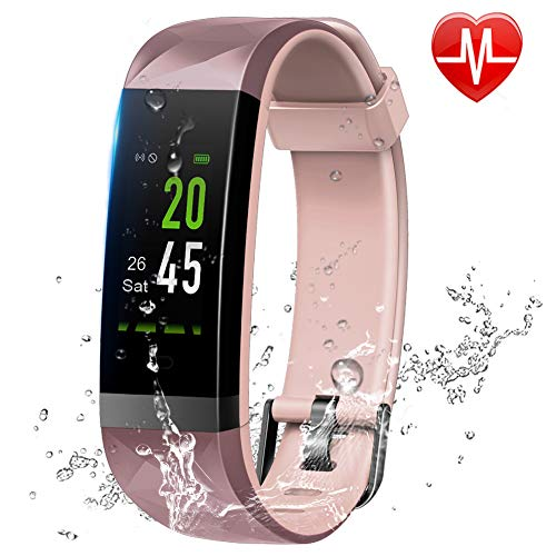 Lintelek Fitness Tracker Color Screen Heart Rate Monitor Activity Tracker, Calorie Counter, Smart Wristband, Pedometer IP68 Waterproof Stable Connection Kid Women Men, Android iOS (Pink)