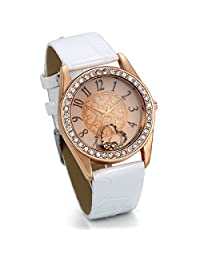 JewelryWe Women's Heart Dial Watch with Rose Gold-Tone Case White Leather Strap