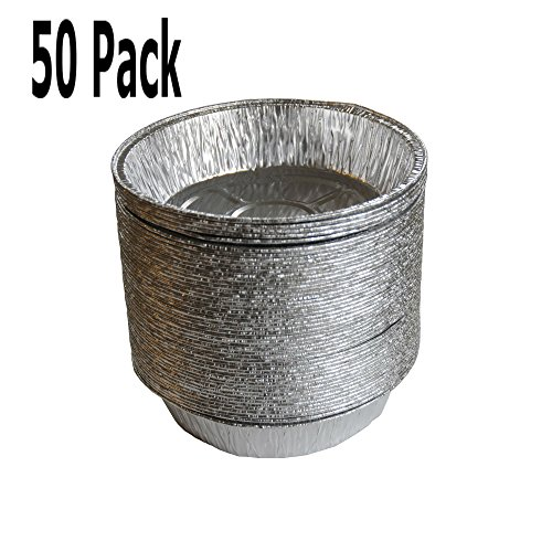 50 Pack 5 inch Round Tin Tart and Pie Pans for Desserts and Baking - Aluminum Foil