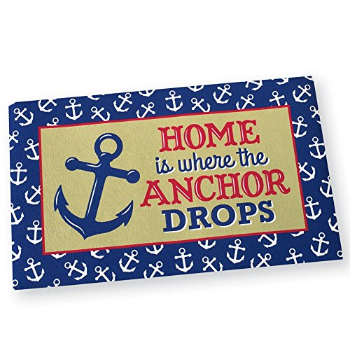 Nautical Ocean Anchor Drops Skid-Resistant Door Mat, Blue