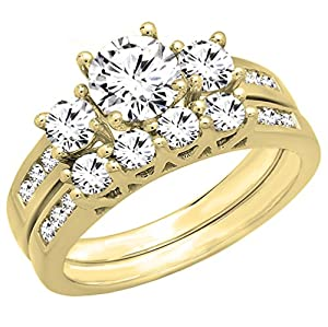 1.80 Carat (ctw) 14K Yellow Gold Round Diamond Bridal 3 Stone Engagement Ring Set (Size 6)