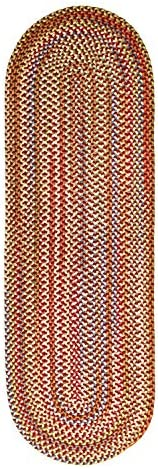 Super Area Rugs Roxbury Indoor Outdoor Braided Rug Red Natural Multi Colored RB49, 2 X 8 Oval Runner