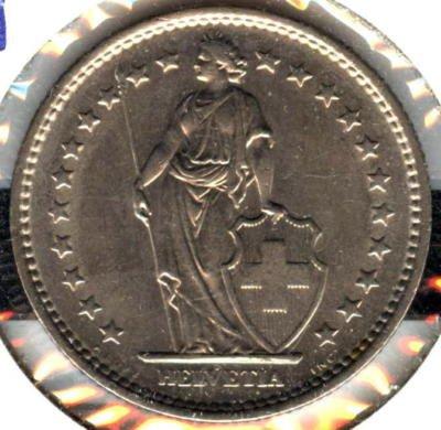 Extra Fine 1968-B Swiss 2 Francs