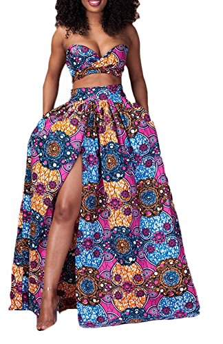 Women's Purple Long Dashiki Dress (Women's African Print Dashiki Strapless Two Piece Set Hem Split Long Maxi Dress)