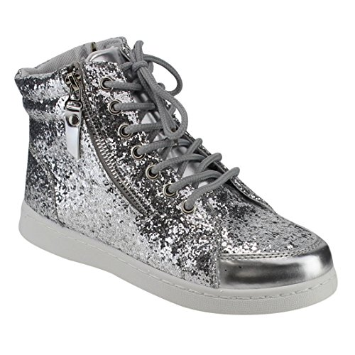 Forever Link Womens Hi Top Glitter Lace Up Ankle Booties Fitness Trainer Fashion Sneakers Silver