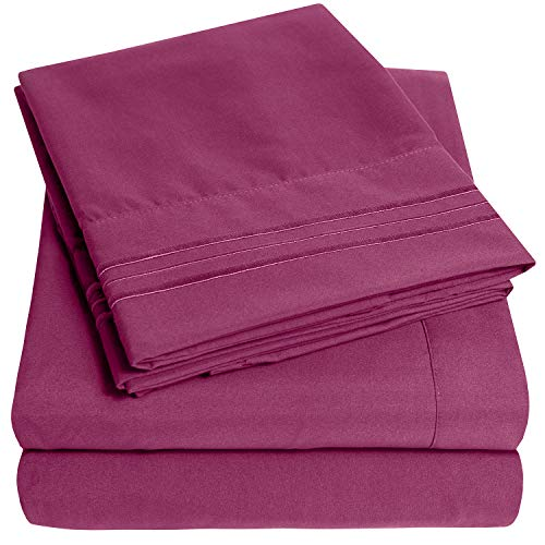 1500 Supreme Collection Extra Soft California King Sheets Set, Berry - Luxury Bed Sheets Set with Deep Pocket Wrinkle Free Hypoallergenic Bedding, Over 40 Colors, California King Size, Berry