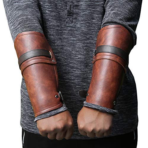 Syktkmx Faux Leather Gauntlet Wristband Bracer Arm Armor Cuff Punk Gothic Medieval Costume Vambraces