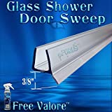 DS9382 3/8'' Glass- Frameless Shower Glass Door Clear Sweep, Wipe, Seal 32'' Length Free 4oz Valore Glass Sealer