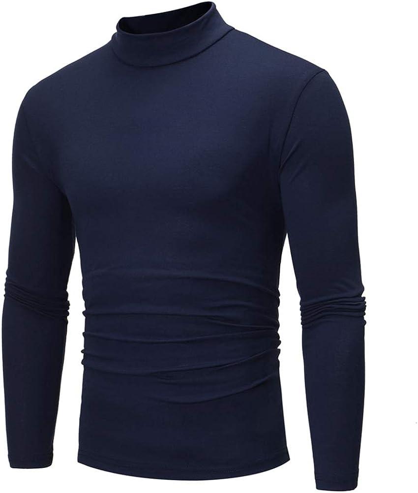 ULEEMARK Maglie a Manica Lunga Lupetto Collo Alto Uomo T-Shirt