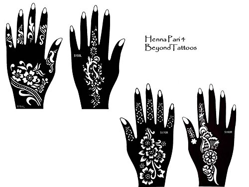 Tattoo Stencil Template Set of 4 different Sheets Henna Designs Suitable for Hand Pari