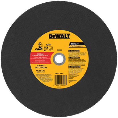 DeWalt DW8003 14 x 3/32 x 7/64 x 1 Stud Cutter Chop Saw Wheel, Light -